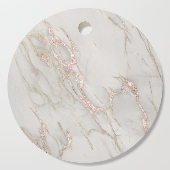 Marble Rose Gold Blush Pink Metallic by Nature Magick Cutting Board