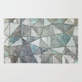Teal And Grey Triangles Stained Glass Style Rug