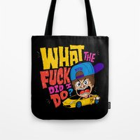 drunk Tote Bags featuring Drunk Beebz by Chris Piascik