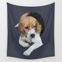 beagle Wall Tapestries featuring geometric beagle dog #1 by artsimo