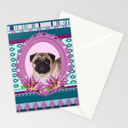 Frame Pug - Mops colorful Pattern Stationery Cards