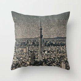 Japan Tokyo Skytree Artistic Illustration Pebbles Style Throw Pillow