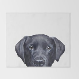 Labrador with white background Dog illustration original painting print Throw Blanket