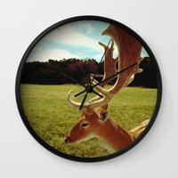 antlers Wall Clocks featuring Antlers by Anna Dykema Photography