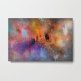bright colourful galaxy watercolour Metal Print