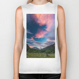 Amazing sunset clouds over mountain Mangart Biker Tank