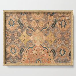 Persian Motif III // 17th Century Ornate Rose Gold Silver Royal Blue Yellow Flowery Accent Rug Patte Serving Tray