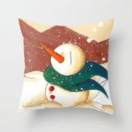 Snow by the Mountains Throw Pillow