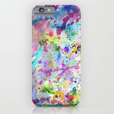 Abstract Bright Watercolor Paint Splatters Pattern Slim Case iPhone 6