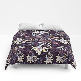 White Lilies in the Purple Garden Comforters
