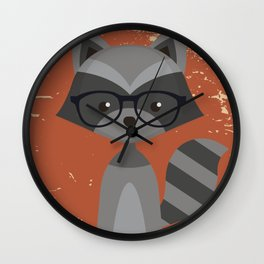 Hipster Raccoon Wall Clock