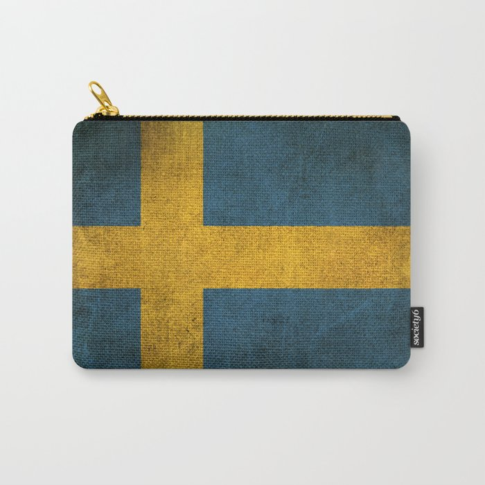 Old and Worn Distressed Vintage Flag of Sweden Carry-All Pouch