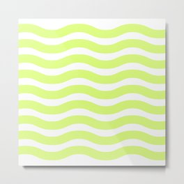 Lime Green Abstract Wavy Lines Pattern Metal Print