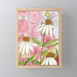 Pink Hollyhock and White Coneflower Garden Flowers Framed Mini Art Print