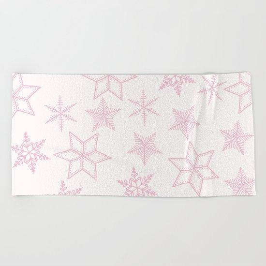 Pink Snowflakes On White Background Beach Towel