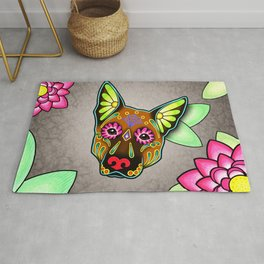 German Shepherd in Brown - Day of the Dead Sugar Skull Dog Rug