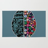 brain Area & Throw Rugs featuring Brain by BlueLela