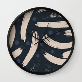 Paint Strokes Pattern - Navy, Blueberry, and Light Sand Colours Wall Clock