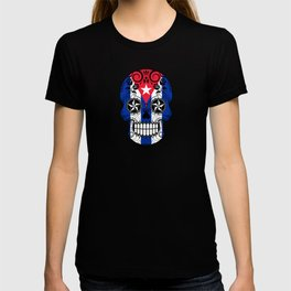 Sugar Skull with Roses and Flag of Cuba T-shirt
