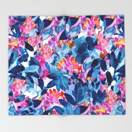 Flower garden watercolor Throw Blanket