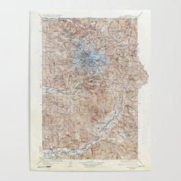 Vintage Mount Rainier Topographical Map Poster