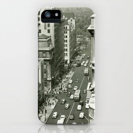 Fifth Avenue, New York City, B&W, high angle view 1950s vintage photo iPhone Case