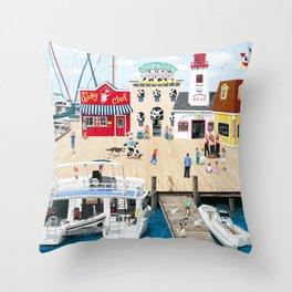 Quartet at the Quay Throw Pillow