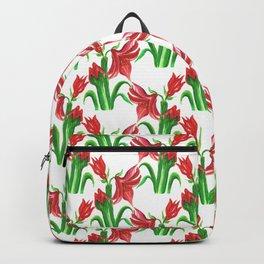 Christmas Amaryllis Flower Watercolor Decor Backpack