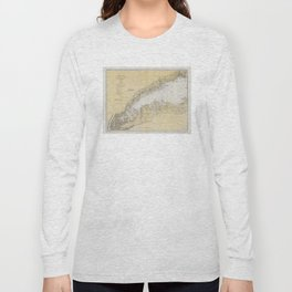 Vintage Map of The Long Island Sound (1934) Long Sleeve T-shirt