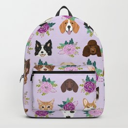 Dogs and cats pet friendly floral animal lover gifts dog breeds cat person Backpack