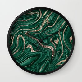 Emerald Green Black Gold Glitter Marble #1 #decor #art #society6 Wall Clock