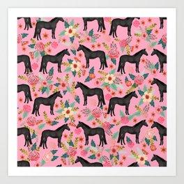 black beauty, mare, horse, horses, floral, florals, black horse, horse bedding, horse decor, cowgirl Art Print