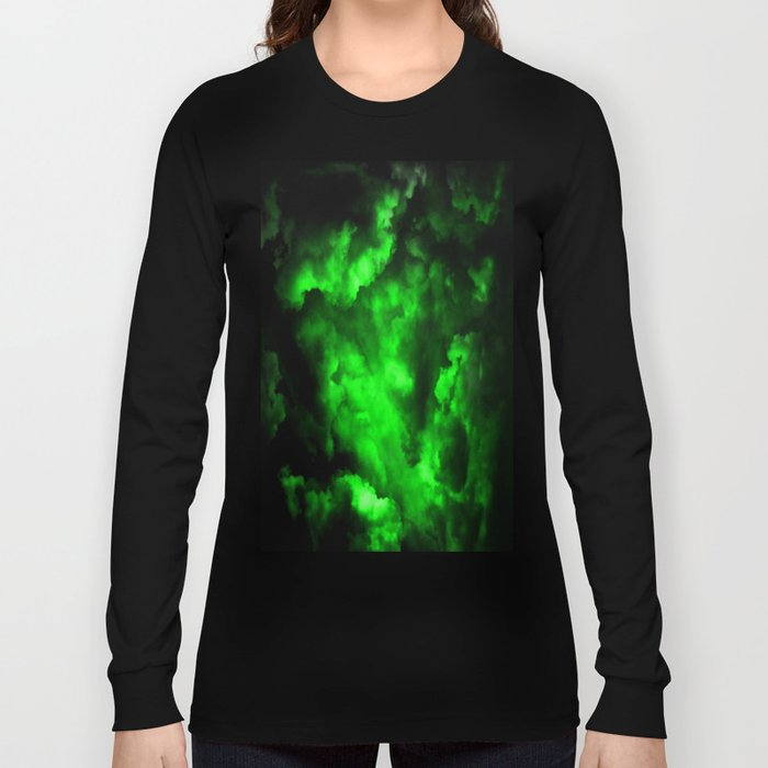 Envy - Abstract In Black And Neon Green Long Sleeve T-shirt