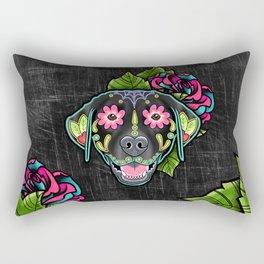 Labrador Retriever - Black Lab - Day of the Dead Sugar Skull Dog Rectangular Pillow