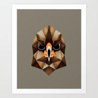 hawk Art Prints featuring Hawk by KUI29