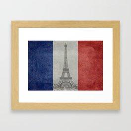 Flag of France with Eiffel Tower Framed Art Print