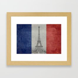 Flag of France with Eiffel Tower Framed Art Print