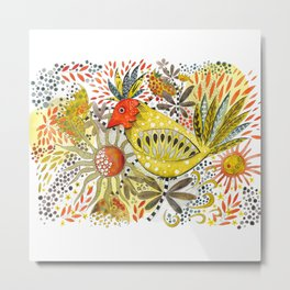 Red and yellow Paradise Bird Metal Print