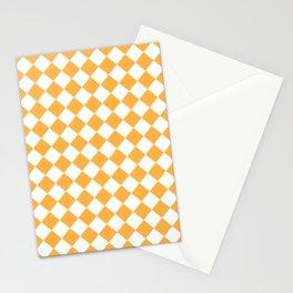 Diamonds - White and Pastel Orange Stationery Cards