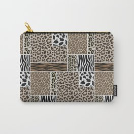 Stylized Multi-Animal Fur Print Carry-All Pouch
