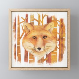 Fox in the forest - Animal abstract watercolor illustration Framed Mini Art Print
