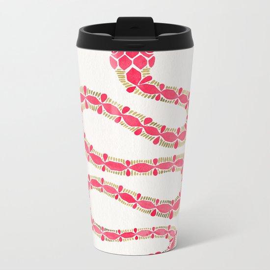 Pink & Gold Serpent Metal Travel Mug