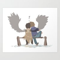 destiel Art Prints featuring Destiel by elkindragon