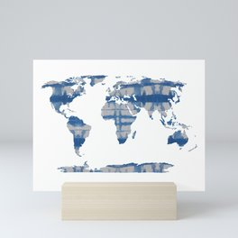 Shibori Map of World 5 Mini Art Print