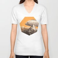bass V-neck T-shirts featuring Mountain Bass by Sam Rowe Illustration