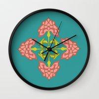 flora Wall Clocks featuring Flora by nandita singh