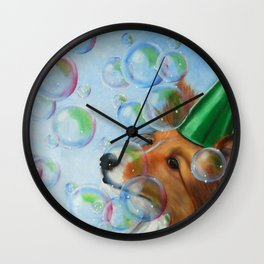 Party Girl Sheltie Dog Painting Wall Clock