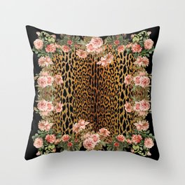 Rose around the Leopard Throw Pillow