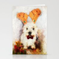 westie Stationery Cards featuring Merry Christmas Happy Holiday Westie by Ginkelmier