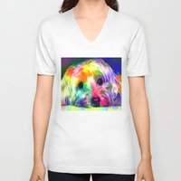 yorkie V-neck T-shirts featuring Colorful Yorkie By Annie Zeno  by Annie Zeno